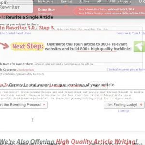 """""""One Click Rewrite"""" Vs. """"I'm Feeling Lucky"""" Settings [Spin Rewriter Tutorial]"""