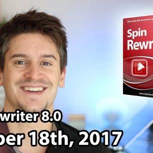 Spin Rewriter 8.0 Launch - October 18th, 2017 - JV