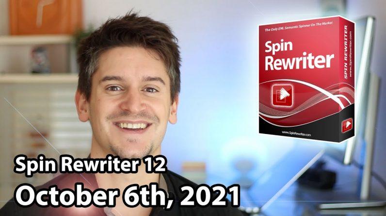 Spin Rewriter 12 Launch - October 6th, 2021 - JV